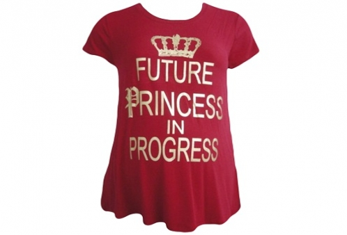 Camiseta Gestante Future Princess in Progress Menina & Meninas - Vermelho
