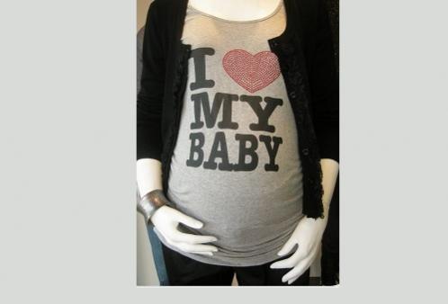 Camiseta Gestante I Love My Baby Menina & Meninas - Cinza Mescla