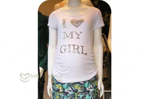 Camiseta Gestante I Love My Girl Menina & Meninas