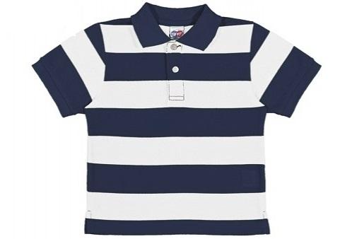aaa98c8dbd7d6 Camiseta Polo Listrada Azul e Branco Bebê Tip Top