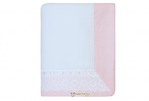 Cobertor de Bebê em Soft Bordado Inglês Bless Rosa
