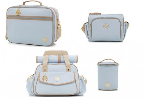 8d4085fb9 Conjunto de Bolsa Maternidade e Mala Rivoli Azul Lequiqui 4 peças
