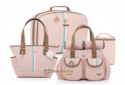 Conjunto de Bolsas Maternidade New Monarchy Rosa Lequiqui 4 peças