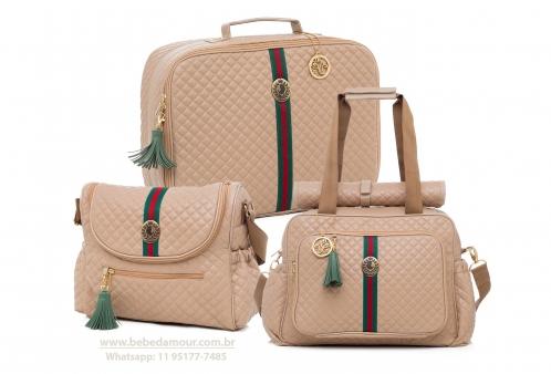 Conjunto de Bolsas Maternidade Victoria Bege Lequiqui 3 peças