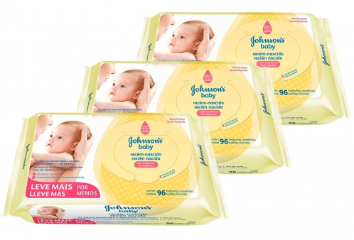 Kit 03 Lenços Umedecidos Recém Nascido Johnsons Baby 96 unidades
