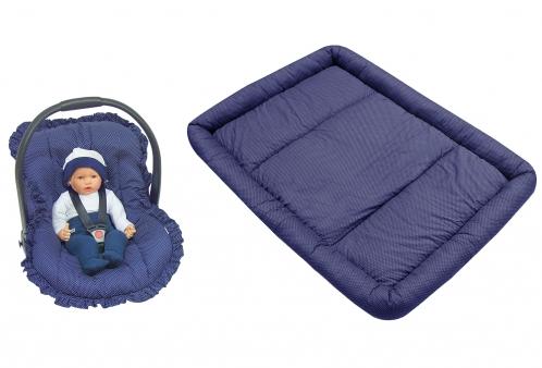Kit Capa para Bebê Conforto e Colchonete para Chiqueirinho Poá Marinho