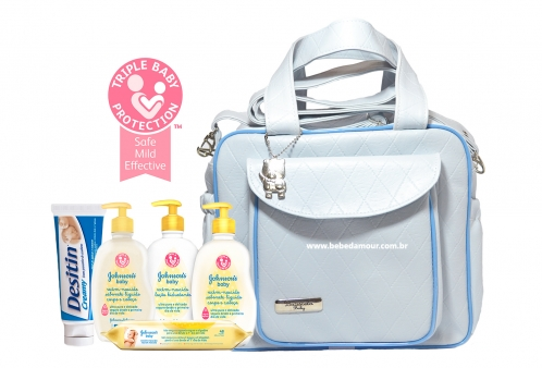 d486373161 Kit Johnsons Baby Conjunto Chá de Bebê +1 Bolsa Maternidade Azul