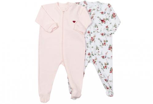 c00fda10de01e1 Kit Macacões para Bebê com Zíper em Suedine Rosa e Floral 2 Peças