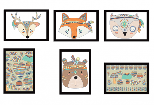 Kit Quadros da Coleção Indian Fox 06 Peças