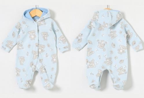 36e252f1613bfe Macacão em Soft Ursinhos Azul com Capuz 01 Peça | Bebe D`amour