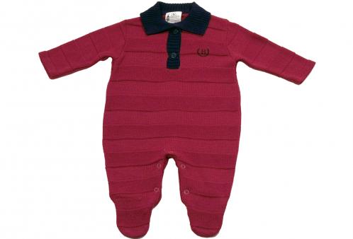 Macacão Menino Bebê Polo Vermelho Gola Marinho