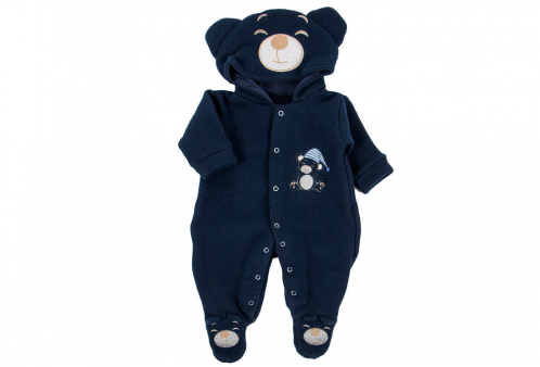 Macacão para Bebê em Soft de Urso com Capuz Marinho 7ba3bada5ba