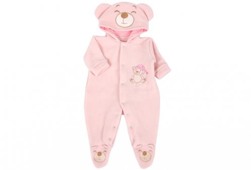 1753536cae3cd9 Macacão para Bebê em Soft de Urso com Capuz Rosa