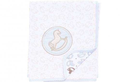 Manta para Bebê em Suedine Cavalinho de Balanço Baby Blue Hug Baby