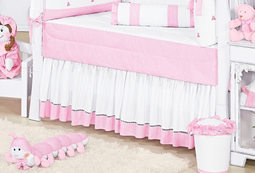 Saia para Berço Ursinhos Luxo Rosa
