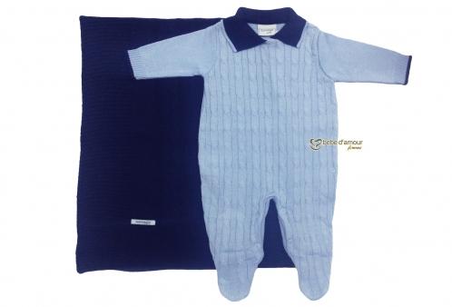 Saída Maternidade em Tricô Azul Claro e Manta Marinho Noruega Baby 8d13267245d