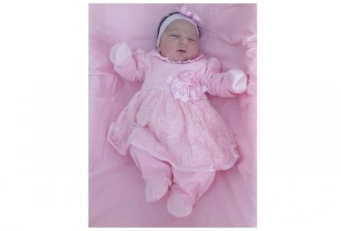 0135bf8b20 Saída Maternidade Luxo em Renda Rosa 03 Peças