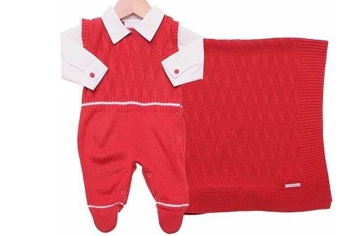 Saída Maternidade Menino Vermelha Com Camisa Noruega - Vermelho 48a4df9260f37
