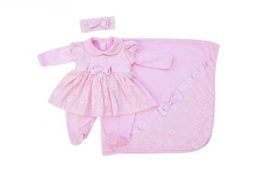 c4855e25d Saída Maternidade Vestido de Princesa Renda Rosa 3 Peças