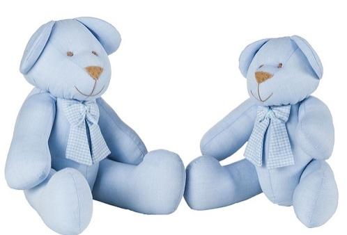 Ursinho em Tecido Azul com Laço Xadrez Azul P ou G - 1 Peça - Azul