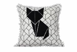 Almofada Decorativa Quadrada Geometric Cat Preto e Branco