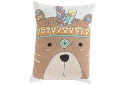 Almofada Indian Fox Urso em Camurça Suede