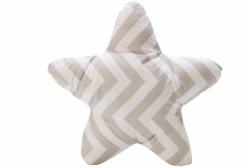 Almofada para Bebê de Estrelinha Chevron Cinza