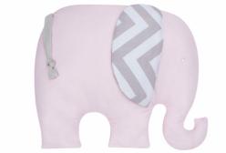 Almofada para Bebê Elefante Chevron Rosa e Cinza