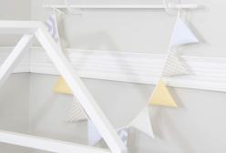 Bandeirinha de Tecido para Quarto de Bebê Patchwork Amarela