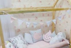 Bandeirinhas Montessoriano Mini Cama Chevron Rosa