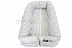 Berço Portátil Ninho para Bebê Sleep Um Listrado Cinza