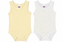 Body Regata Amarelo Bebê 2 Peças Tip Top