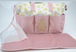Bolsa Maternidade com Trocador Ursinho Estrelas Rosa Tip Top
