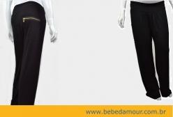 Calça Pantalona Gestante Zíper Dourado Menina & Meninas - Preto
