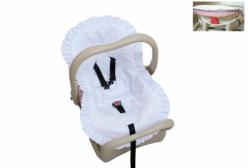 Capa para Bebê Conforto Bordado Inglês Algodão Doce Branco
