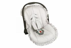 Capa para Bebê Conforto Chevron Cinza com Protetor de Cinto
