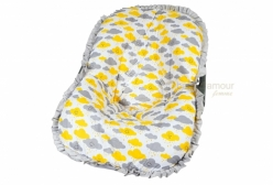 Capa para Bebê Conforto Cloud Chuva de Amor Amarelo e Cinza