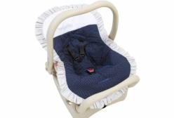Capa para Bebê Conforto Piquê e Poá Marinho