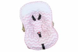 Capa para Bebê Conforto Soho Chevron Rosa e Piquê