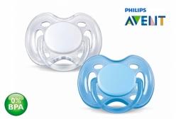 Chupeta de Bebê Ortodôntica Branca e Azul 0 à 6 meses Philips Avent 02 unidades
