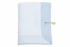 Cobertor de Bebê em Soft Bordado Inglês Bless Azul