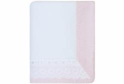 Cobertor de Bebê em Soft com Renda Inglesa Bless Rosa - Rosa