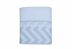 Cobertor para Bebê em Soft Chevron Cinza e Branco