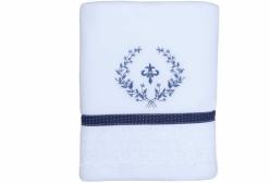 Cobertor para Bebê em Soft Flor de Lis Marinho