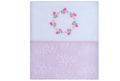 Cobertor Soft Le Jardin Rosa Barrado em Renda