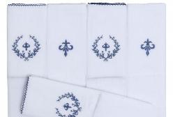 Conjunto 5 Fraldas Cremer Luxo Bordado Flor de Lis Marinho - Branco e Marinho