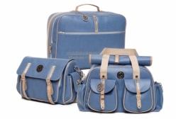 Conjunto Bolsas Maternidade e Mala Liverpool Azul Lequiqui