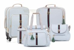 Conjunto Completo Bolsas Maternidade Victoria Azul Lequiqui 5 peças