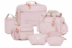 Conjunto Completo de Bolsas Maternidade Estampada Rosa Lequiqui