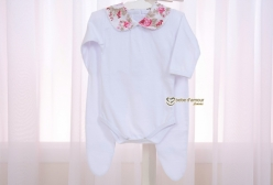 Conjunto de Body e Mijão para Bebê Catarina Nude Floral